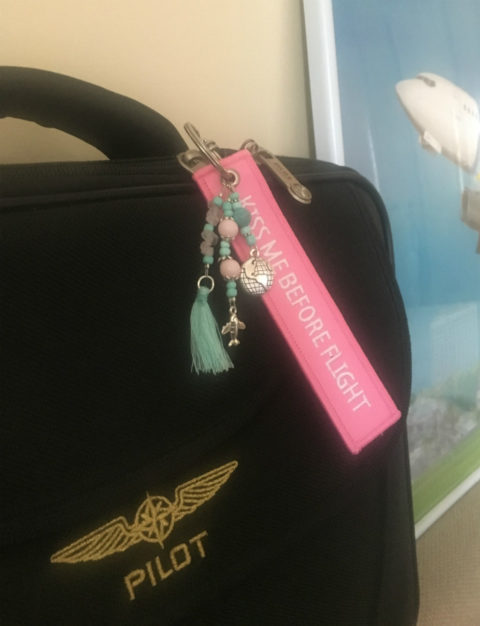 Handmade keychain with aviation charms